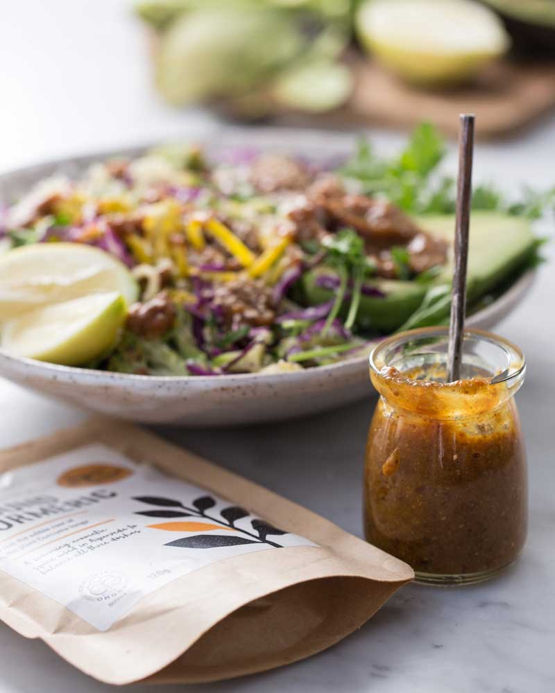 gluten-free green salad with turmeric dressing