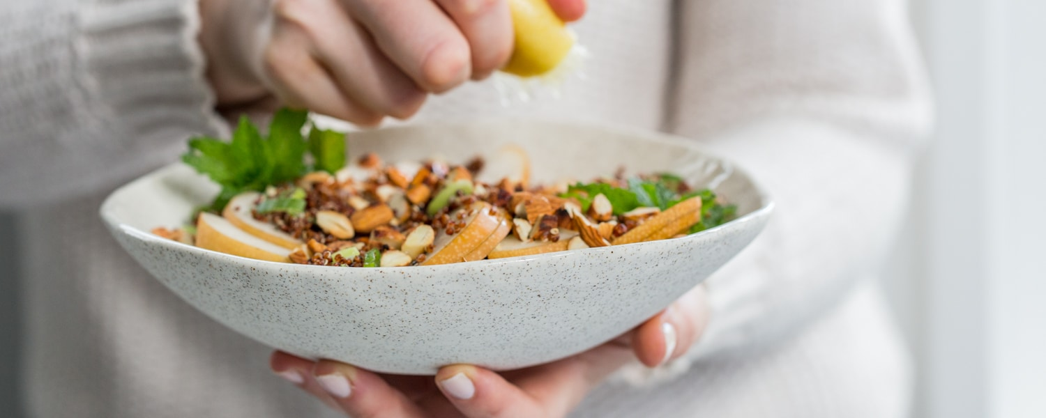 red quinoa nashi pear salad