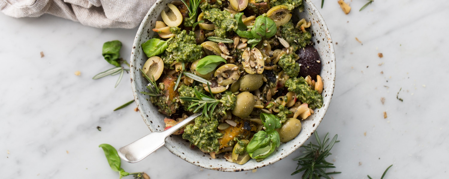winter vegetable pasta salad vegan pesto